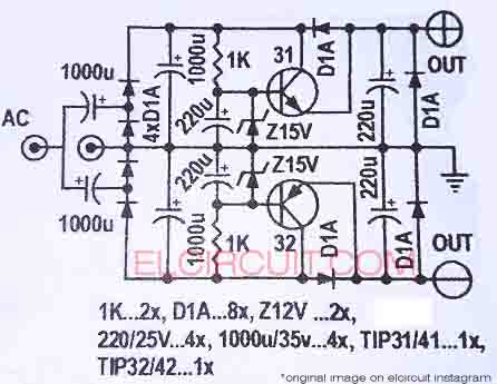 symmetrical power supply from nonct transformer electronic circuit step down transformer circuit diagram circuit diagram power supply 0 from nonct transformer