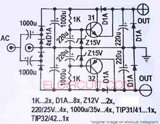 Circuit Diagram Power Supply + 0 - from NonCT transformer