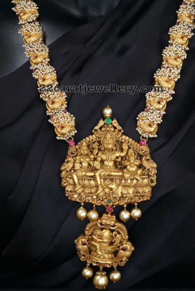 Peacock Pearl Chain with Shiva Pendant