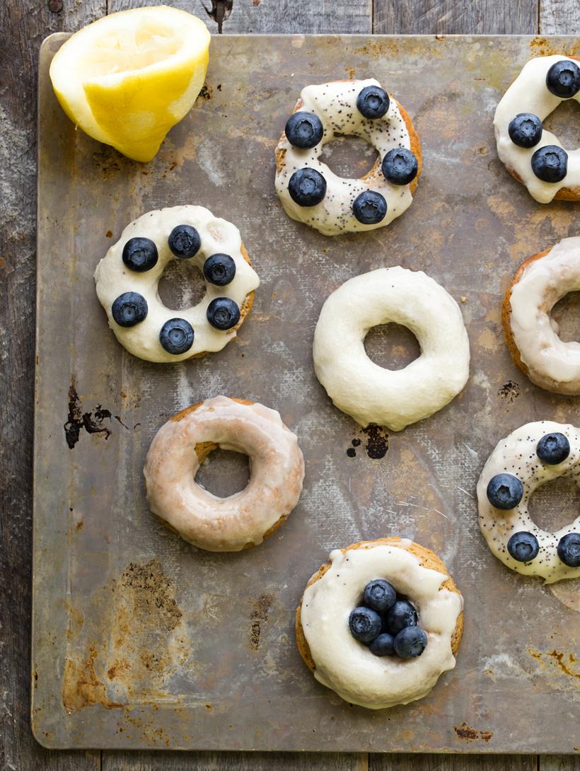 Lemon Poppyseed Donuts with Vanilla Frosting