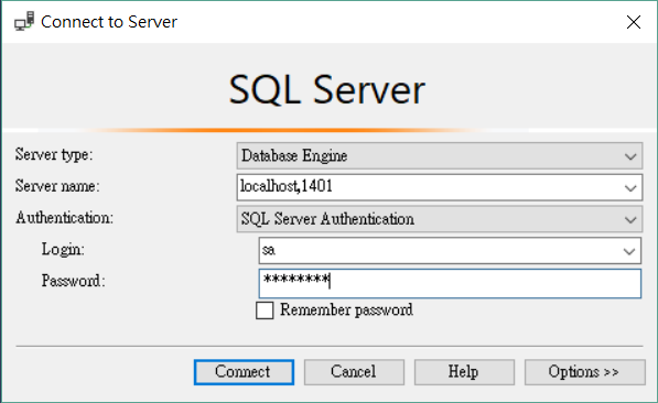 SSMS Login mssql-server-linux