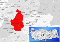 Nevşehir ili ve ilçeleriyle birlikte çevre il ve ilçeleri de gösteren harita
