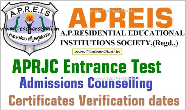 APRJC CET,Admissions counselling,Certificates verification dates 2016