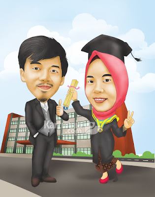 kartun wisuda kampus couple