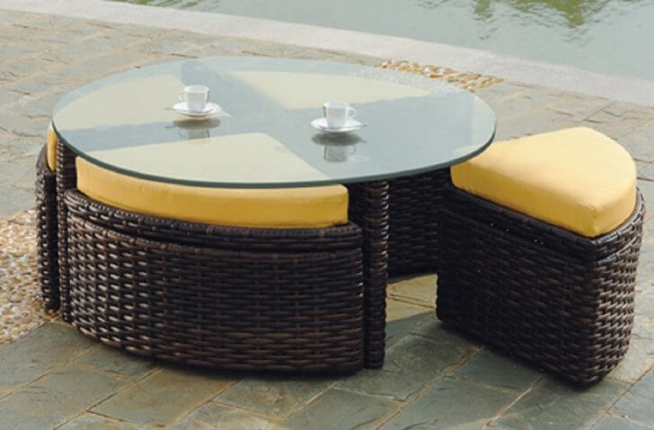 Round Glass Coffee Table With Nesting Stools Or Bench Stools Underneath And Storage