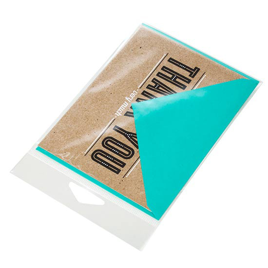 The evolution of greeting card packaging clearbags their story and add their branding on the header card with the greeting card and envelope in a separate section of the bag in full unobstructed view m4hsunfo