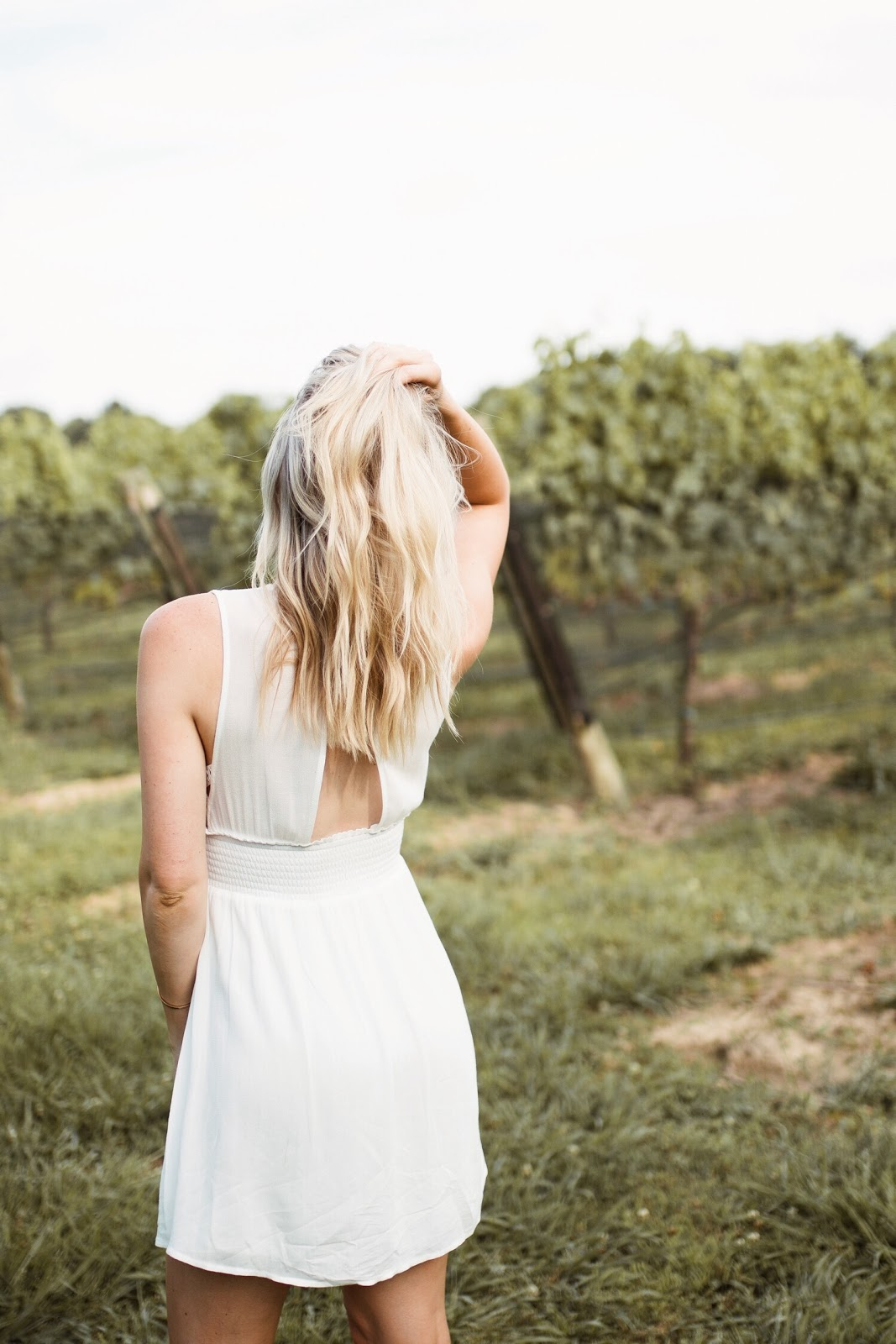 white sundress for wine tasting