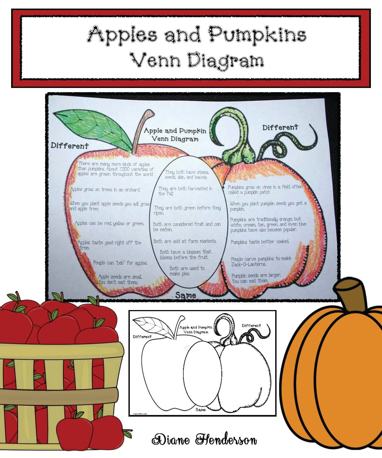 Classroom Freebies Apples Amp Pumpkins Venn Diagram