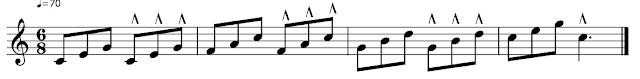 Corcheas agrupadas de 3 en 3. Cada grupo lleva marcato alternativamente