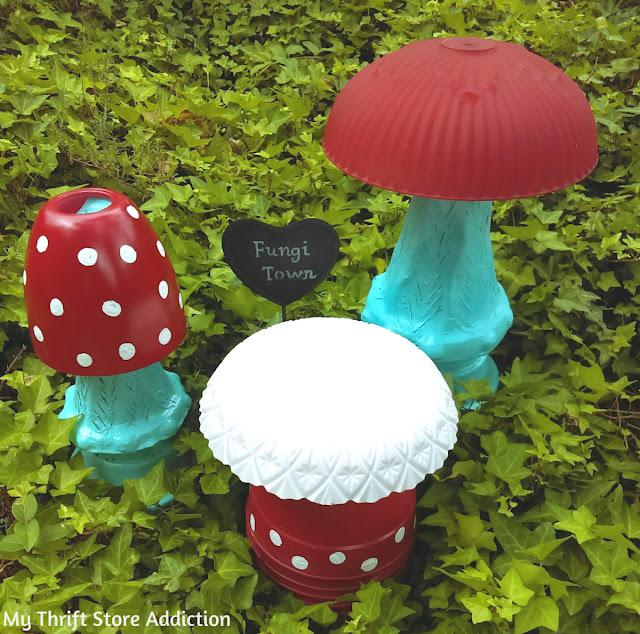 Fungi Town Repurposed Garden Junk Mushrooms My Thrift Store