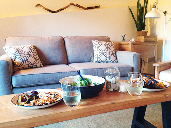 Pasta and salad served at Nancy Meyers-inspired Something's Gotta Give dinner and movie night