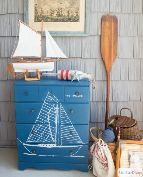 Nautical Painted Dresser Makeover with Ship Print
