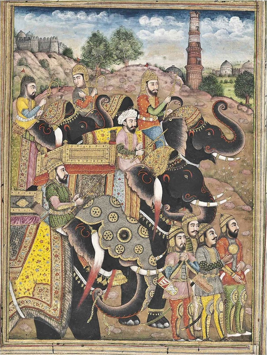Parade of Elephants and Soldiers - Indian Miniature Painting, Kashmir, Circa 1800