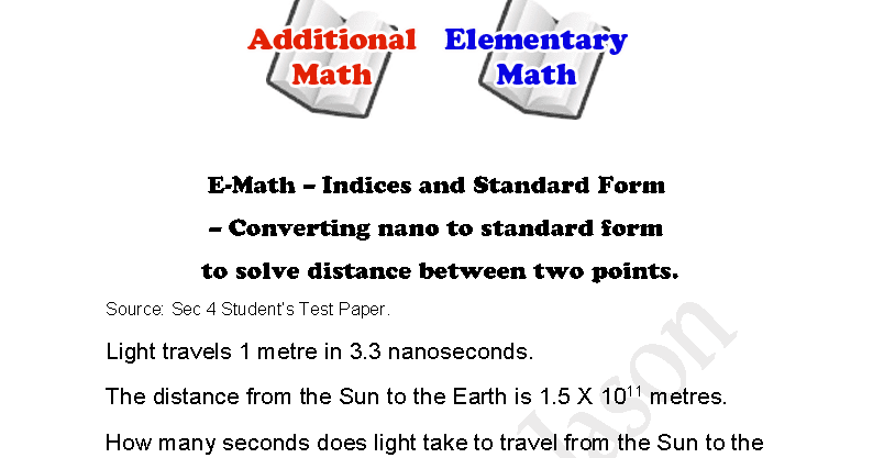 E Math Indices And Standard Form Converting Nano To Standard