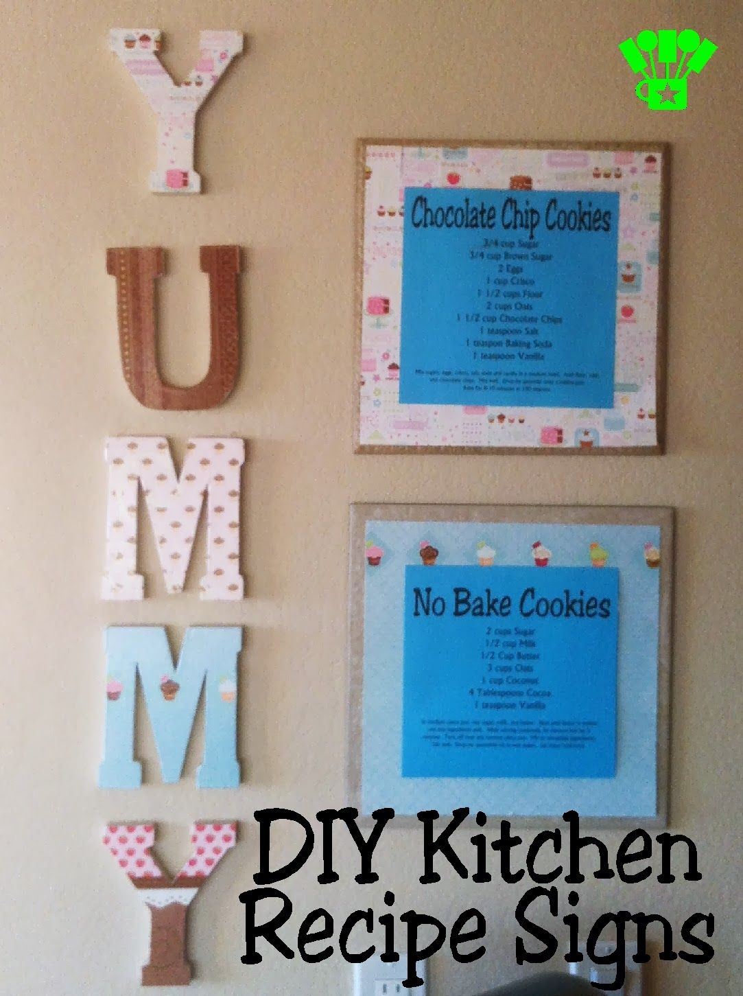 DIY Kitchen Recipe Signs by Kims Kandy Kreations.  Renters can decorate their kitchen too, and still take it all with you when you move! #Renter #Decorate #Kitchen #DIY