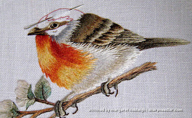 Thread painted robin nearly complete. (Robin by Trish Burr (Inspirations))