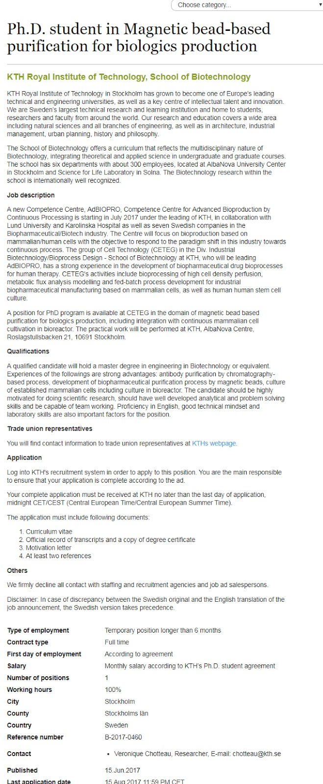 PhD Student Scholarships in Magnetic Bead Based Purification in Sweden 2017