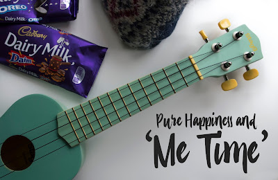 Pure Happiness and Me Time image - ukulele, chocolate and fluffy socks