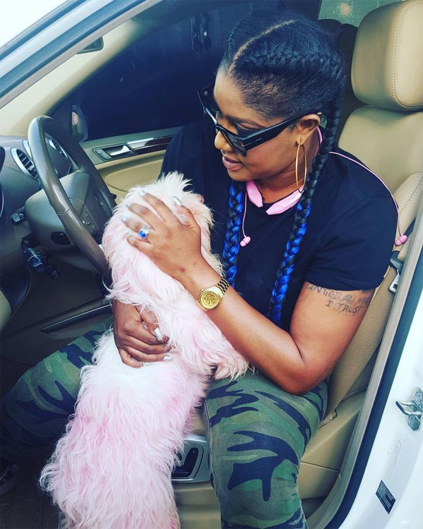 "Actress Angela Okorie loses her pet dog ""Riri"""