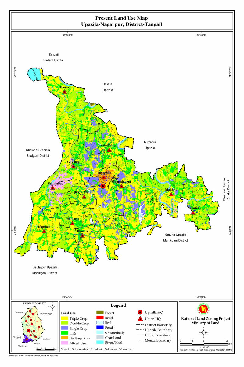 Nagarpur Upazila Mouza Map Tangail District Bangladesh