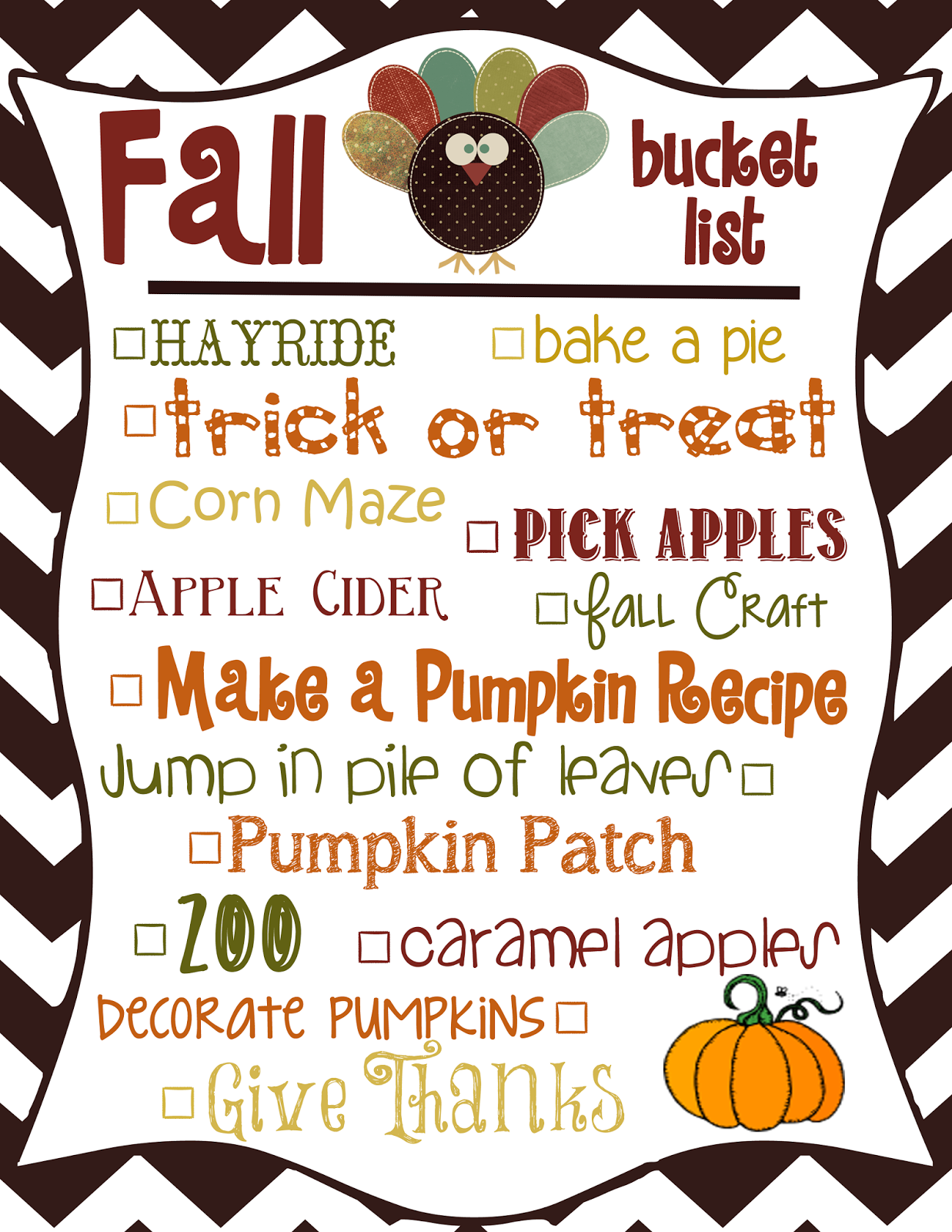 Mommy And Things Fall Bucket List Printable