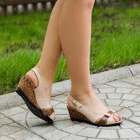 Sandale dama Piele Ruslana bej cu maro cu platforma ortopedica (modlet)