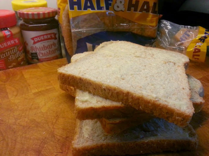 Warburtons Half and half bread and Duerr's jams and peanut butter