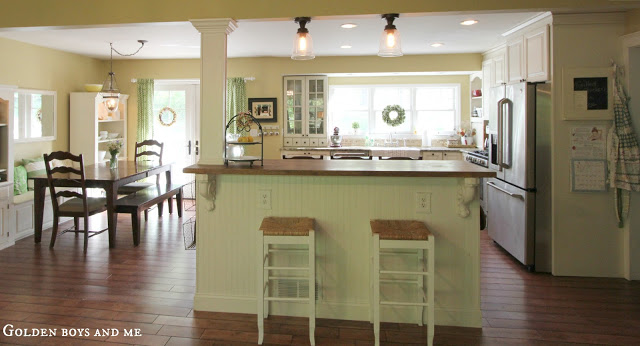 Golden boys and me summer home tour - Kitchen island with post ...