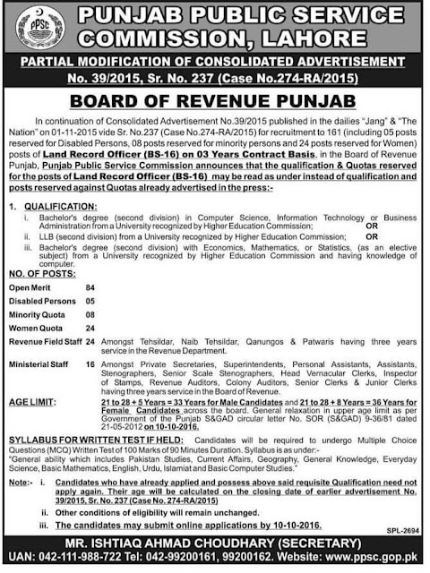 LRO Jobs in PPSC LRO Jobs 2016