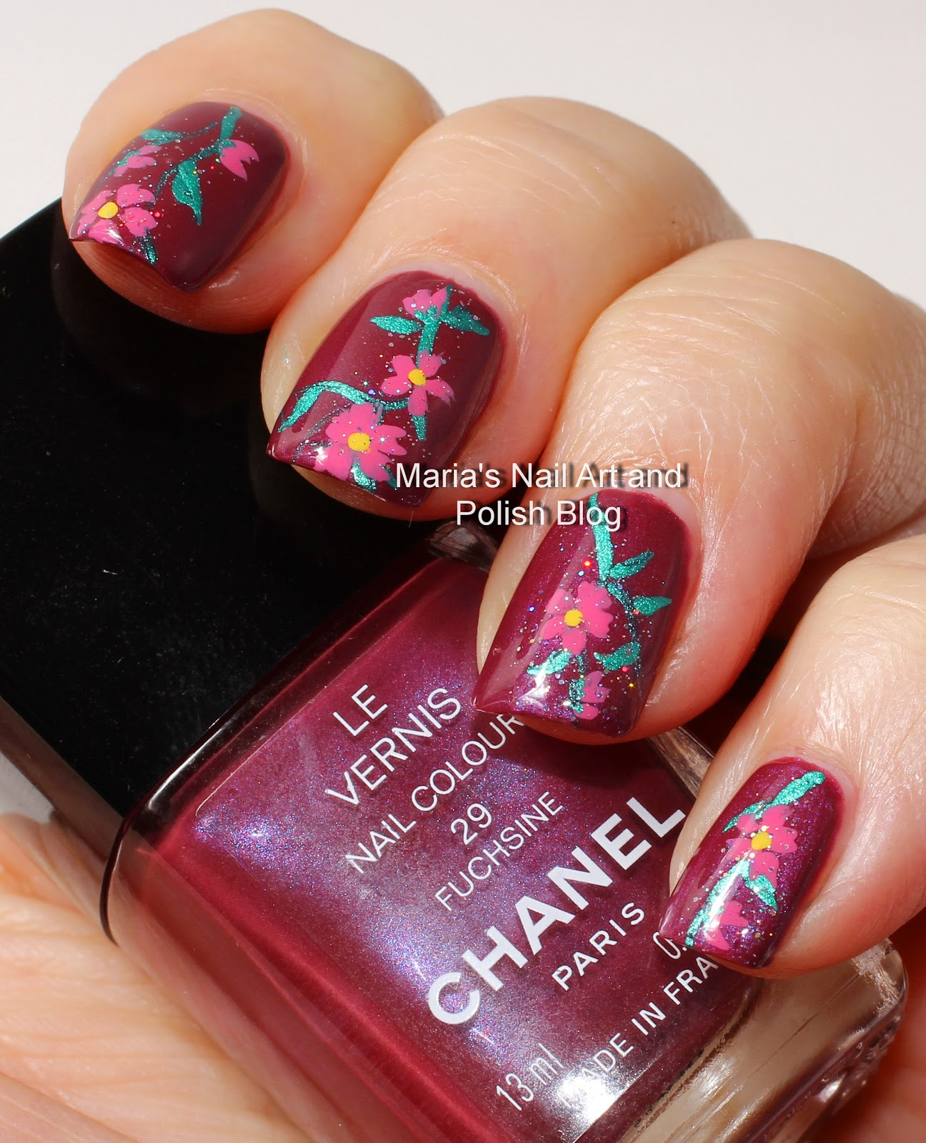 Marias Nail Art And Polish Blog Flowery Fuchsine