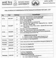 BHU UET Revised Exam Date Notice 2017
