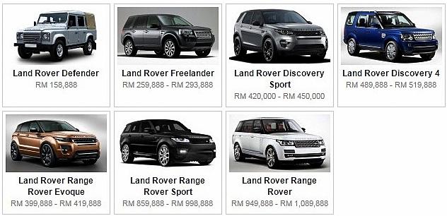 Senarai Harga Terkini Kenderaan Land Rover Baru Di Malaysia