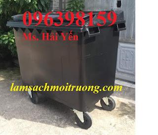 Xe gom rác 660 lít, xe đẩy rác tay, xe thu gom rác công nghiệp