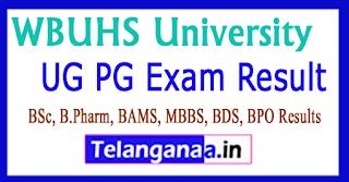 WBUHS University Result 2017 UG PG Exam Results 2017
