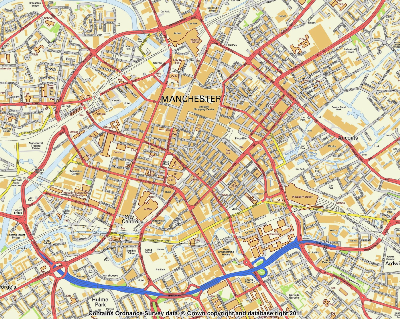 Manchester Map Uk Free Printable Maps