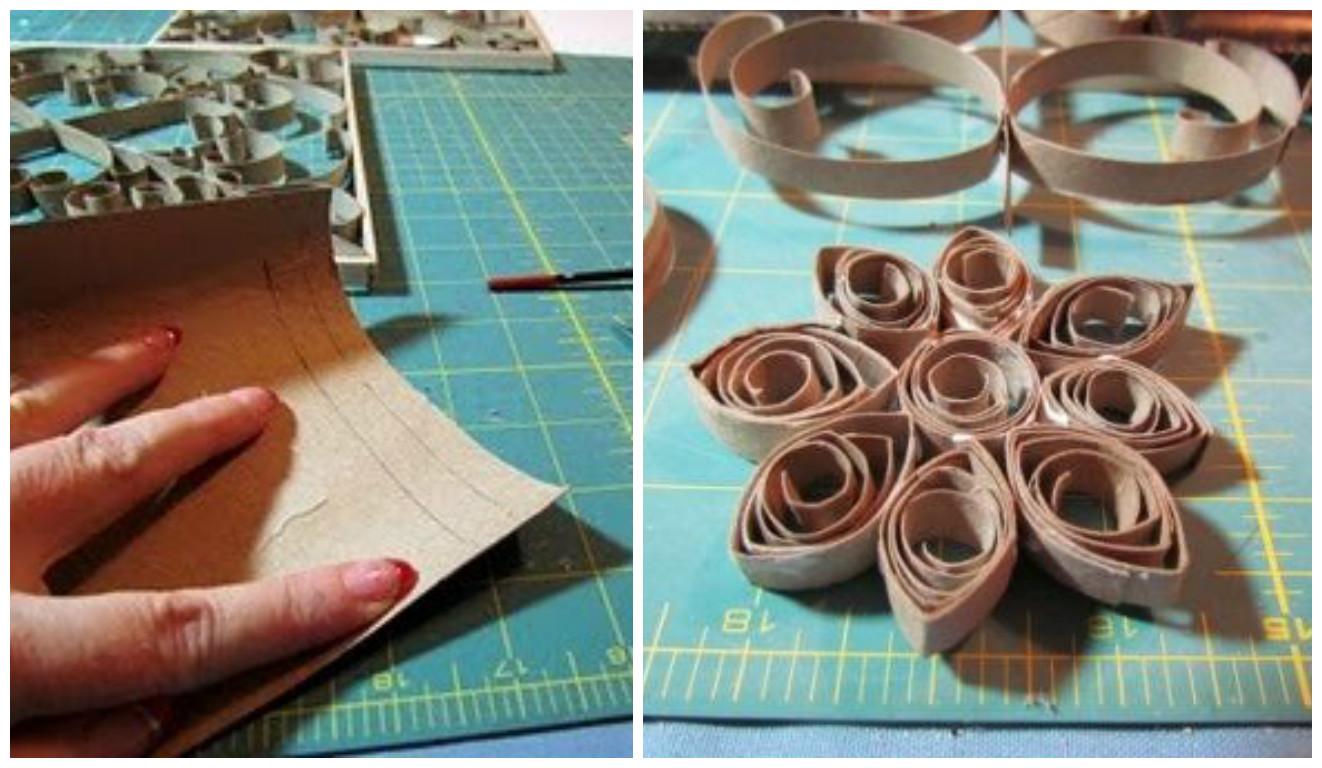 con pegamento de carpintero o el pegamento blanco escolar pega los diferentes espirales que puedes hacer con estos rollos de papel higinico