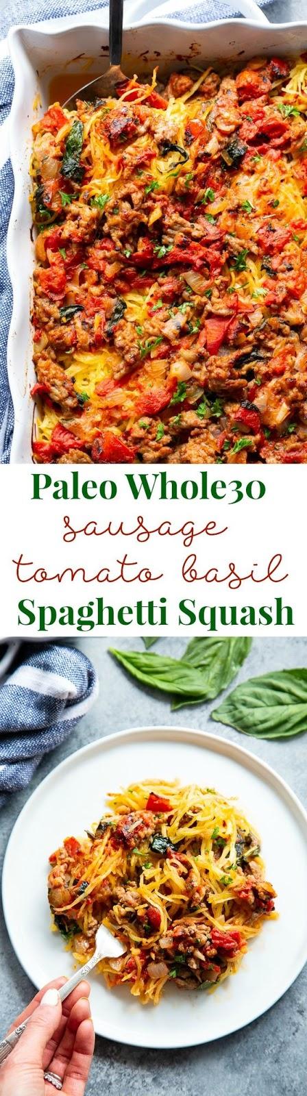 Keto Creamy Sausage Tomato Basil Spaghetti Squash