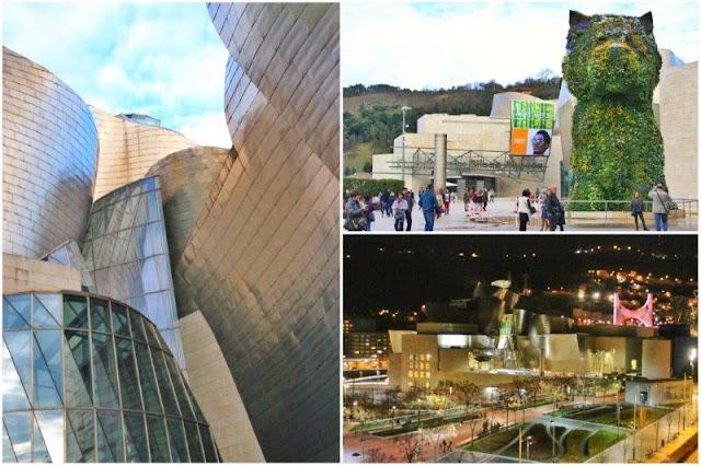 Detalle de la fachada en titanio del Museo Guggenheim Bilbao – Escultura Puppy de Jeff Koons – Vista nocturna del Museo Guggenheim Bilbao