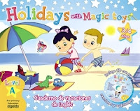 Cuaderno de vacaciones de Inglés, para 3/4 años. Holidays with Magic Toys.