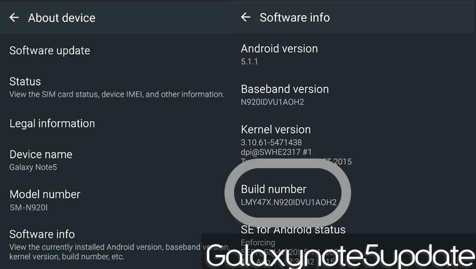 Update Build N920IDVU1AOH2 Release on Samsung Galaxy Note5