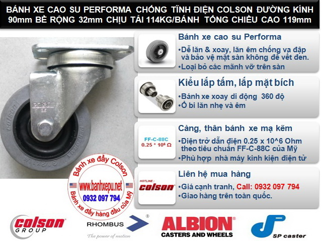 Bánh xe kháng tĩnh điện Colson Mỹ càng xoay phi 90 | 2-3646-445C www.banhxeday.xyz