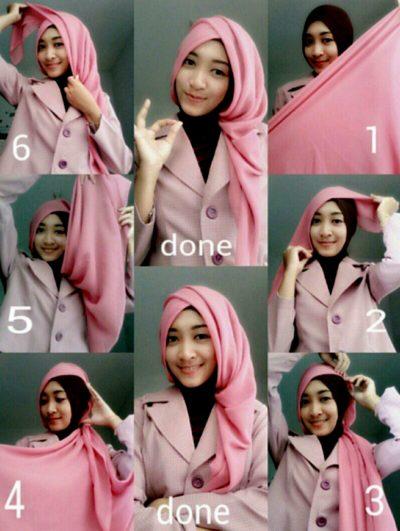 tutorial hijab terbaru segi empat style 4