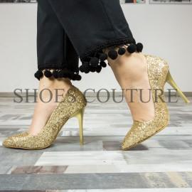 Pantofi Stiletto Full Glitter 02-2017 Gold