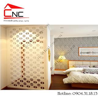 Vách ngăn hoa văn gỗ cho phòng ngủ và phòng khách