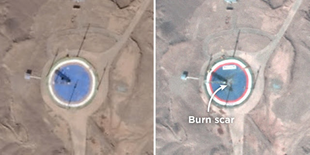 These satellite images show a circular launchpad for the Safir rocket at the Imam Khomeini Space Center in Iran. The image on the right, taken on Feb. 6, shows a burn scar. The image on the left, from Jan. 21, does not. Credit: Planet Labs Inc.