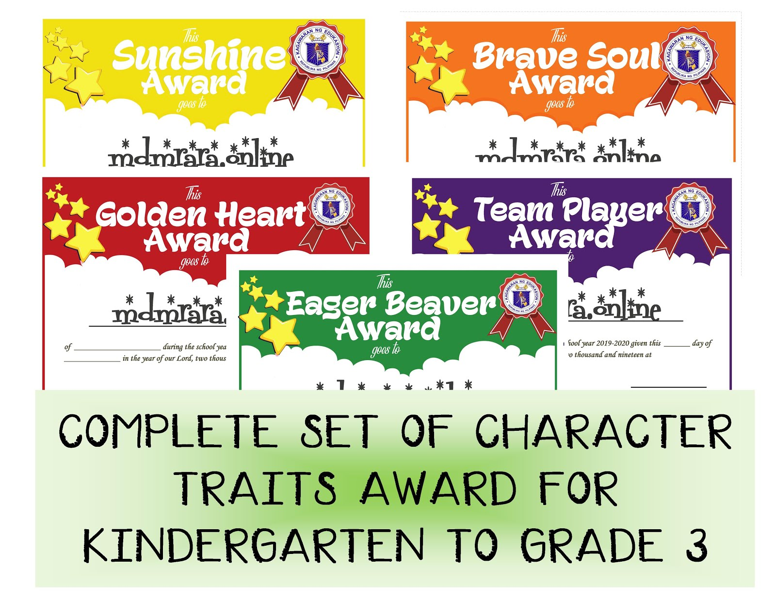 Complete Set Of Character Traits Award For Kindergarten To