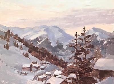 #170 'La Plagne, The Alps' 9×12″