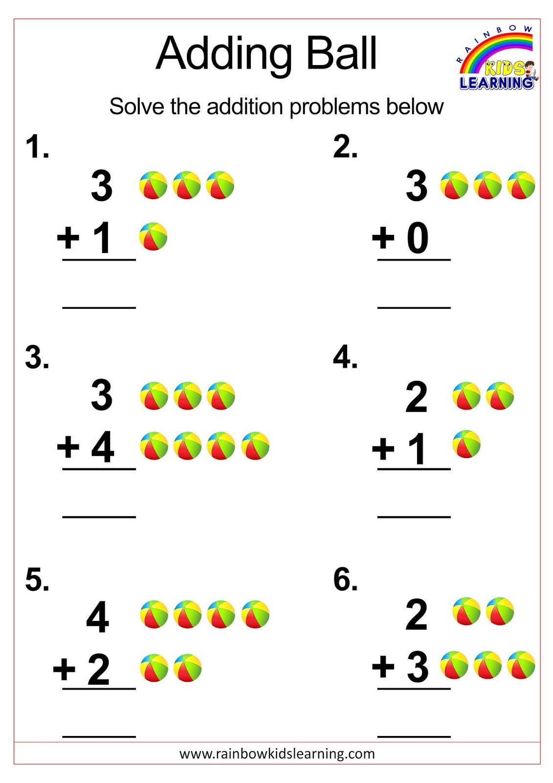Worksheets On Addition