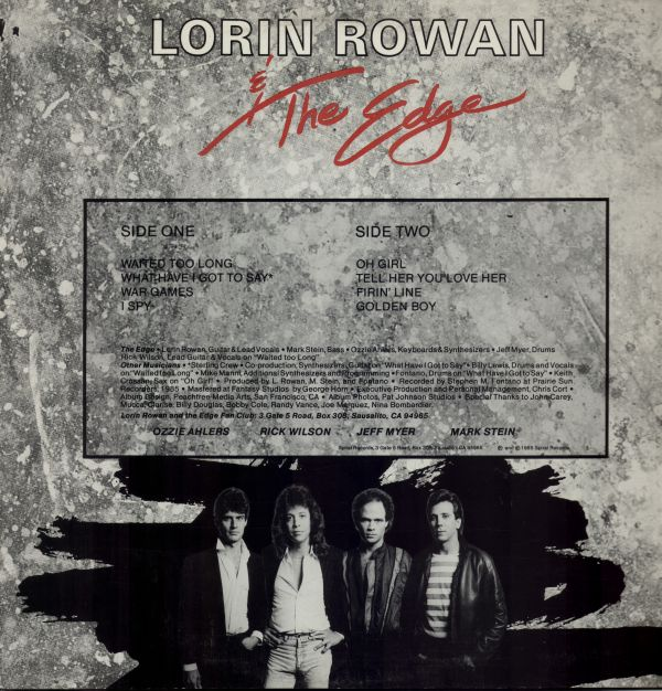 LORIN ROWAN & The Edge - Supply & Demand (1985) back