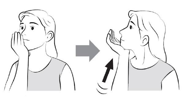 下巴與手互相推壓